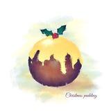Watercolour del pudín de Chrsitmas Foto de archivo