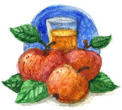 Watercolour del zumo de manzana Imagen de archivo