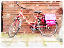 Watercolour digital de la bicicleta roja stock de ilustración