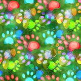 Watercolour Dog Paw Print Pattern. A seamless watercolour background design with pet dog paw prints Stock Image