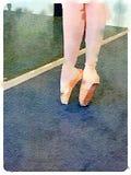 Watercolour dos pés da bailarina nova no ponto no estúdio da dança do bailado Fotos de Stock Royalty Free