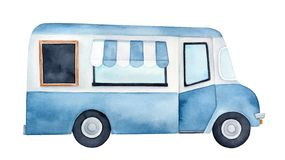 Watercolour drawing of colorful ice cream truck with service window, striped awning, blank wood framed chalkboard. stock illustration