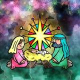 Watercolour dziecka adoraci Jezusowa scena Fotografia Stock