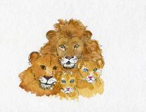 Watercolour of a family of lions, mother, father and two lion cu Stock Photo