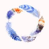 Watercolour feathers. Wreath border. Watercolor for fashion desi Stock Photo