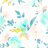 Watercolour Floral Pattern Delicate Flowers Yellow Blue And Pink Flowers Greeting Card Stock Photo