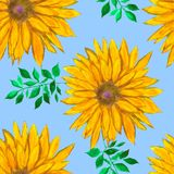 Watercolour floral pattern with yellow flowers. Colorful print. Abstract background. Watercolour floral pattern with yellow flowers. Colorful print with hand royalty free illustration