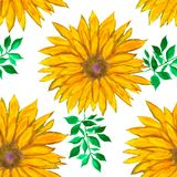 Watercolour floral pattern with yellow flowers. Colorful print. Abstract background. Watercolour floral pattern with yellow flowers and green leaves. Colorful royalty free illustration