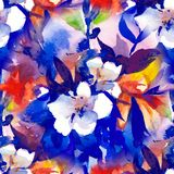 Watercolour floral Seamless pattern, delicate flowers, yellow, blue and pink flowers Royalty Free Stock Image