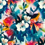 Watercolour floral Seamless pattern, delicate flowers, yellow, blue and pink flowers Royalty Free Stock Photos