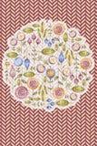 Watercolour flower composition, chevron background. Circle watercolour flower composition, chevron background, zigzag. Aquarelle floral bouquet, hand drawn card vector illustration