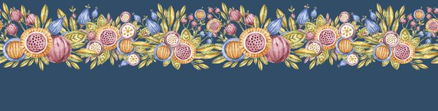 Watercolour flower endless banner isolated on blue royalty free illustration