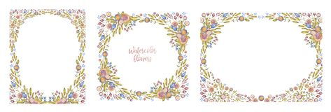 Watercolour flower frame set isolated on white. Background. Three aquarelle floral frameworks, hand drawn collection. Hand painted wildflowers, card cover vector illustration