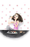 Watercolour Girl Eating Sushi. Watercolour drawing of ungainly girl eating sushi Stock Image