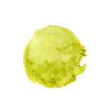 Watercolour green with yellow painted circle background. Green / yellow  watercolors blend circle painted on textured real paper, can be used as a button on web Royalty Free Stock Photography