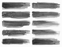 watercolour Grupo de fundos pretos abstratos do curso da aquarela Fotografia de Stock Royalty Free