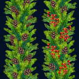 Watercolour hand painted xmas seamless border. Set of watercolor christmas seamless borders of fir branches, cones and red berries, watercolour hand painted xmas Royalty Free Stock Image