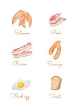 Watercolour hand painting food collection Royalty Free Stock Images