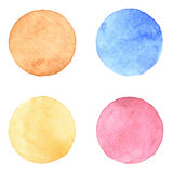 Watercolour handpainted textured circles collection. Watercolour handpainted textured circles collection on white paper background. Orange, brown, pink, blue Royalty Free Stock Photo