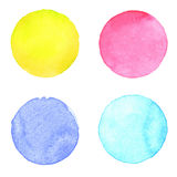 Watercolour handpainted textured circles collection. Watercolour handpainted textured circles collection on white paper background. Yellow, pink, blue Royalty Free Stock Image