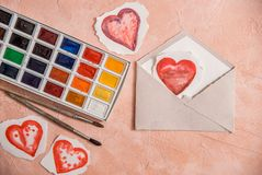 Watercolour heart isolated on white background on a pink background. Valentine day concept. Watercolour heart on a pink background. White Angel, brushes, bright royalty free stock photos