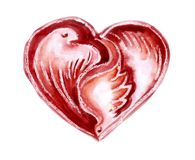 Watercolour heart with pigeons. Watercolor red heart with pigeons on a white background Stock Photo