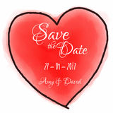 Watercolour heart  for save the date invitation Stock Images