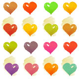 Watercolour heart  on white background. Watercolour hearts set. Multicolor heart symbols on white background Royalty Free Stock Photography