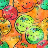 Watercolour het Oranje Fruit Textiel Schilderen stock illustratie