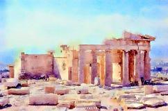 Watercolour het schilderen propylaea, gateway aan tempels op de Akropolis royalty-vrije stock fotografie
