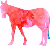 Watercolour Horse Silhouette stock illustration