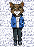 Watercolour illustration of a cat in clothes royalty free illustration