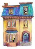 Watercolour illustration of a cosy house with cats in the windows. Hand-painted watercolour illustration of a cosy house with cats in the windows is a great idea stock illustration