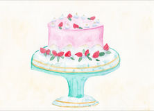 Watercolour Illustration of a fairy cake. Original Watercolour painting of fairy cake with strawberries Stock Image