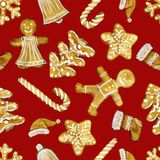 Watercolour illustration hand painted. Seamless Christmas pattern with food elements. Perfect for backgrounds, textures, wrapping stock photo