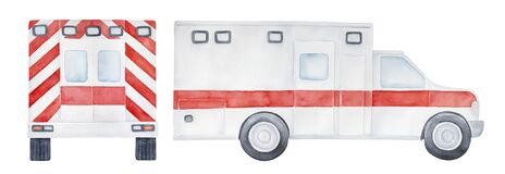 Free Watercolour Illustration Pack Of Different Views Of Emergency Ambulance Car With Blank Bright Red Stripes And Decoration. Stock Image - 184406371
