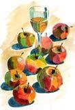 Watercolour jabłka Zdjęcia Royalty Free