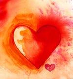 Watercolour jaskrawy serce Obrazy Royalty Free