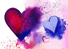 Watercolour jaskrawy serce Fotografia Stock