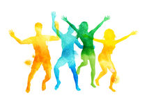 Watercolour Jumping Friends In Summer Vector. A group of friends jumping in summer. Watercolour vector illustration Royalty Free Stock Photo