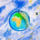 Watercolour-kosmische Landschaft stockbild