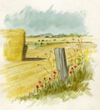 Watercolour Landscape. Original watercolor illustration/sketch of a country landscape. A stacked hay bale in a field. Location around Amesbury, Nr Stonehenge Stock Photos