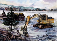 Watercolour landscape of countryside with excavator on foreground. Scanned hand-drown illustration royalty free illustration