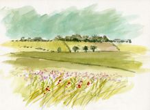 Watercolour Landscape sketch Stock Photo