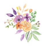 Watercolour Lavender Florals Bouquet Arrangement Pretty Wedding Flowers. Hand Painted Watercolor flowers, leaves and berries in pretty lavender floral bouquet Stock Image