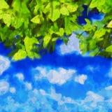 Watercolour leaves on blue sky stock illustration