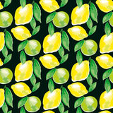 Watercolour lemon motif. concept vivid fashion backdrop Stock Images