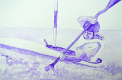 Watercolour of Man in kayak Royalty Free Stock Photos