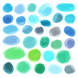Watercolour marker circle textures drawn. Stylish elements for design. Vector blue circles Stock Images