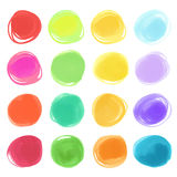Watercolour marker circle textures drawn. Stylish elements for design. Vector circles Stock Images